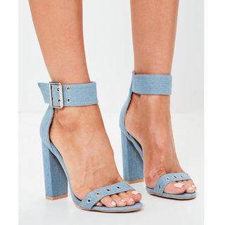 MISSGUIDED Light Blue Denim Heels Buckle Rivet Detail Thick Heel Public Desire