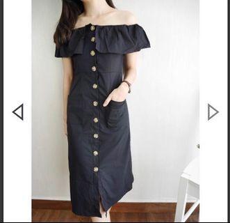 Off shoulder Button design Black Midi Dress