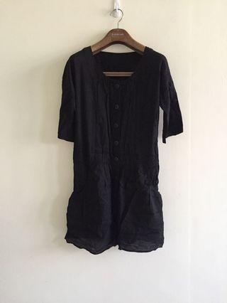 韓貨 黑色洋裝 五分袖