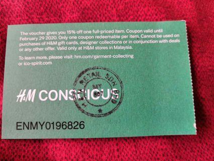 FREE  H&M 15% voucher