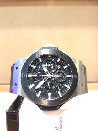 Pre Owned Hublot Big Bang Aerobang 311.SM.1170.GR Skeleton Dial Automatic Steel Casing Leather