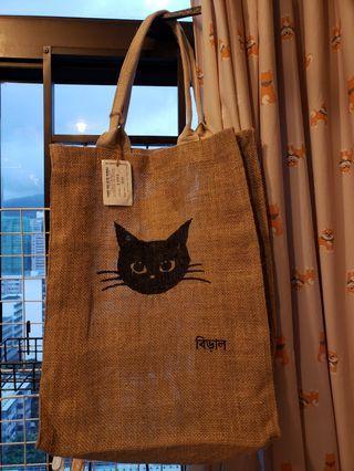 文青風格麻質貓仔手挽袋