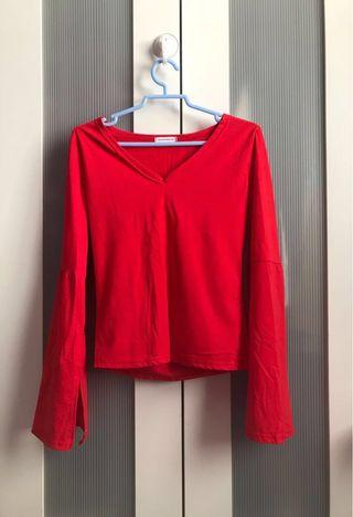 RED V NECK LONG BELL SLEEVE TOP
