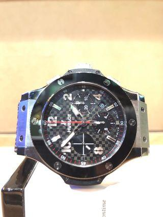 Pre Owned Hublot Big Bang 301.SB.131.RX Black Dial Automatic Steel Casing Rubber