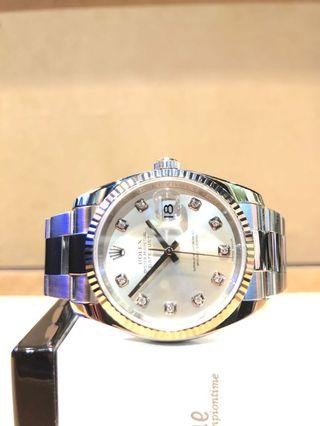 Pre Owned Rolex Oyster Datejust 116234 Silver 10PT Dial Automatic Steel Casing Bracelet