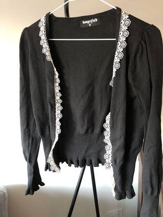 Dangerfield Cardigan Black white flowers cropped size 6