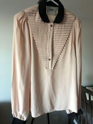 ASOS cream blush top with collar panels gold buttons size 6