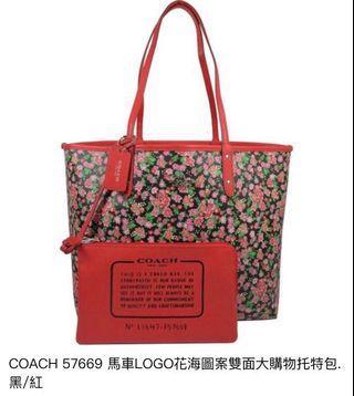 🚚 9.5成新👉Coach雙面花卉大托特包 購物包 手提包 美國購入🇺🇸