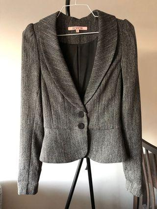 REVIEW women's grey blazer with back ribbon detail