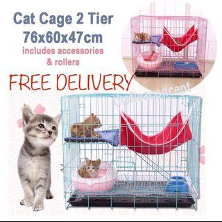 18-22 May FREE DELIVERY , Cat Cage 2 Tier with accessories