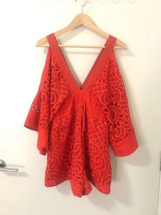 Red lace Alice McCall jumpsuit