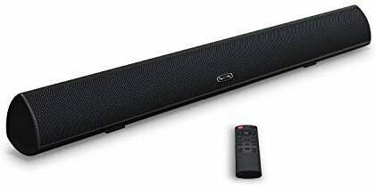 Soundbar, MEGACRA TV Sound Bar with Dual Bass Ports Wired and Wireless Bluetooth Home Theater System (28 Inch, Enhanced Bass Technology, 3-Inch Drivers, Bass Treble Adjustable, IR Learning Remote, DSP