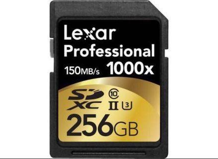 Lexar SD Card 1000x 256GB SDXC UHS-II Card (Class 3)