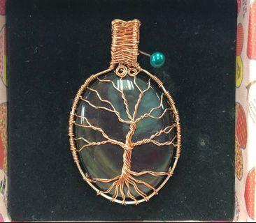 🚚 Peacock Obsidian Pendant - Tree of life