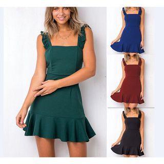 Green Ruffled Strap Dress