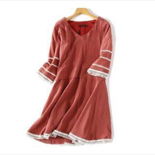 Terracotta Red Tribal Dress 民族風連身裙