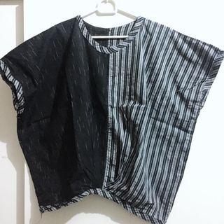 Black ethnic tenun lurik blouse