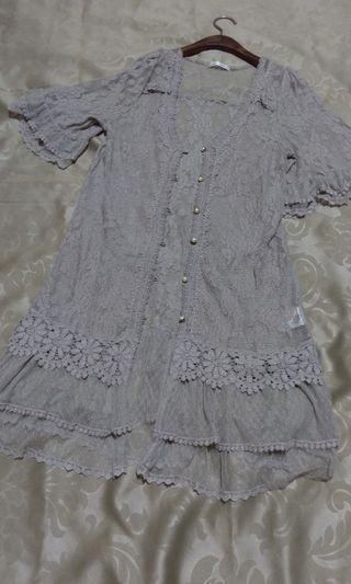 全新(日牌)🇯🇵 axes 原價:3880超浪漫咖灰蕾絲珍珠扣外套上衣2穿法