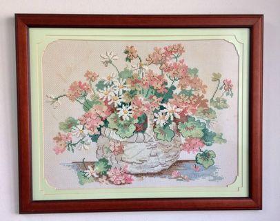 Vintage Cross stitch Flowers in Vase Solid Wooden Frame