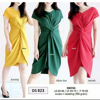 Green twisted dress