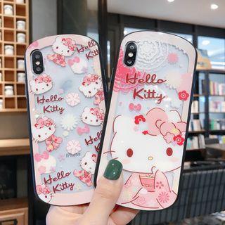 1166HELLO KITTY和服鋼化玻璃手機電話殼 IPHONE6 7 8 X PLUS XS XR XS MAX