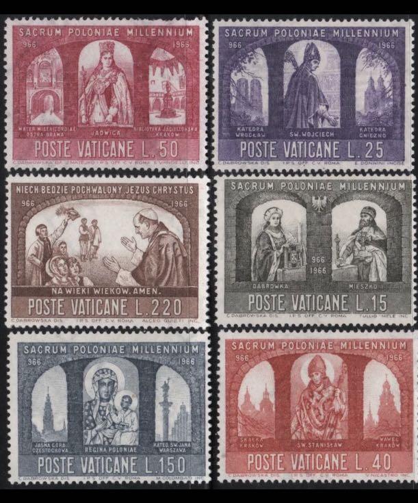 1966 梵蒂岡 郵票 波蘭天主教1000周年 6全