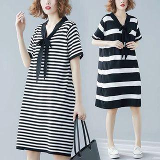 Nautical Vneck Collar Sash Stripes Dress