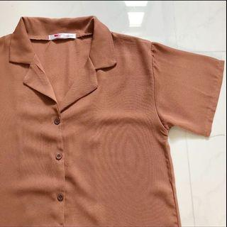 🚚 ulzzang brown blouse