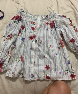 Zara floral off the shoulder blouse