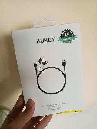 Aukey CB-BAL5 3 In 1 MFI Lightning Cable