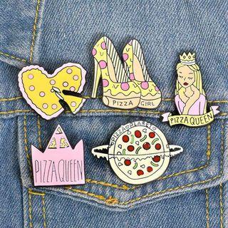 [BUY 3 FREE 1] pizza heel, pizza heart pizza queen enamel pin
