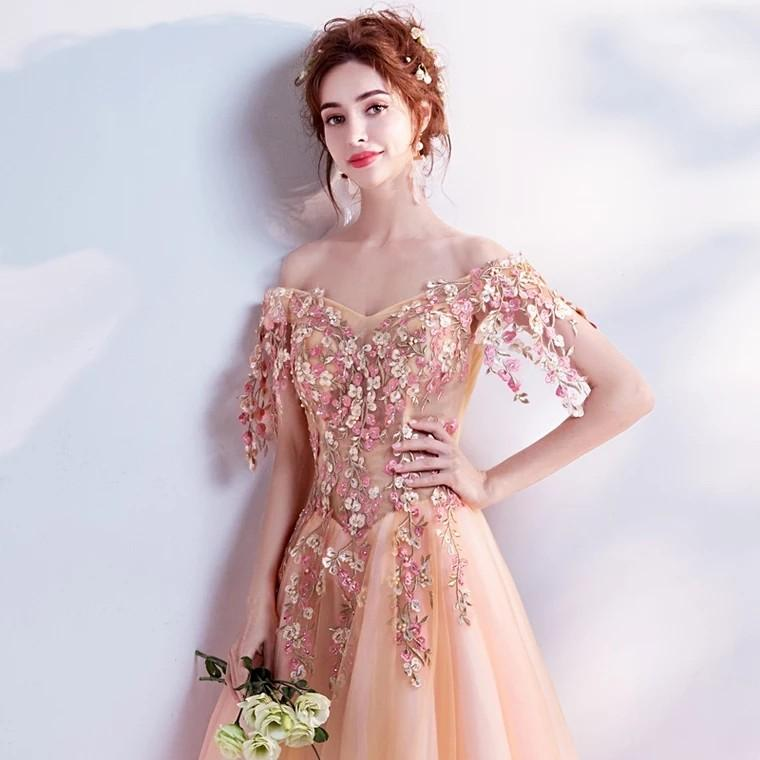 2019 Summer new arrival elegant heavy lace evening  gown粉紅色晚裝