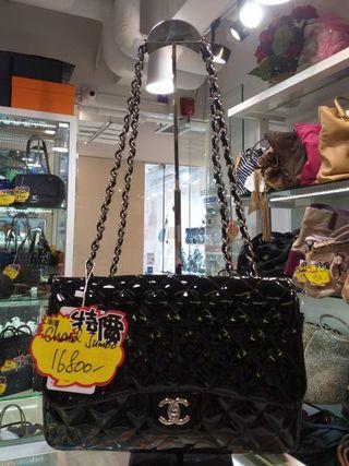 新淨Chanel 黑色漆皮Jumbo , 盒, 貼, 卡 齊晒,