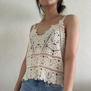 Knit Lace Beige Tank Top