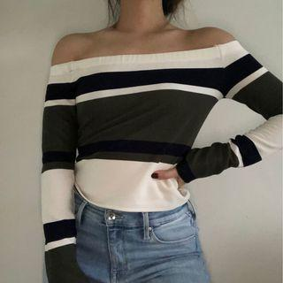 ⭐️ JOA Striped Off Shoulder Top