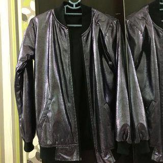 Black Purple Glitter Bomber Jacket