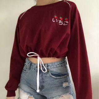 ⭐️ Ulzzang Red Strawberry Drawstring Pullover Sweater