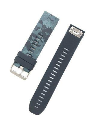 22mm Grey pixelated Camouflage Silicon Rubber Replacement Watchband Watch Strap with Quick Release for Garmin Fenix 5 / 5plus instinct GPS and forerunner 935 Approach S60 / Quatix 5, Seiko and other watches of 22mm lug width