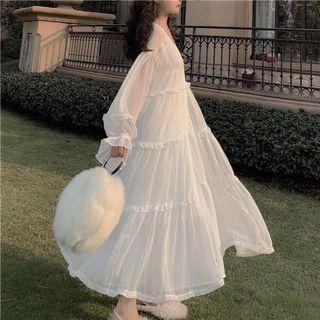 兩件式仙女洋裝!v領細肩連身裙+雪紡開衫罩衫 白