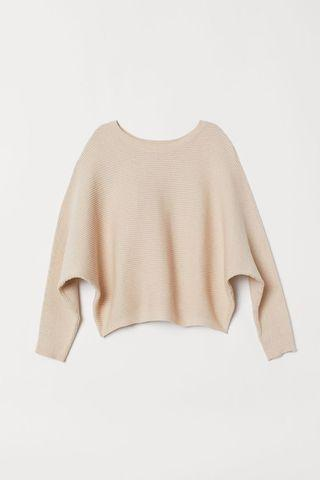 H&m ribbed,cropped sweater in sz s,beige