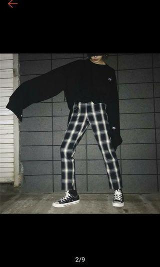 格子直筒褲