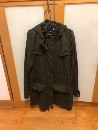 Forever 21 Khaki Green Lightweight Parka Coat