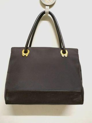 Authentic NINA RICCI Dark Brown Fabric Shoulder Bag With Leather Trim