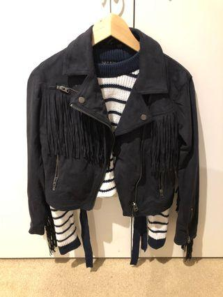 Topshop fringe leather jacket