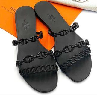 Hermes jelly sandal black