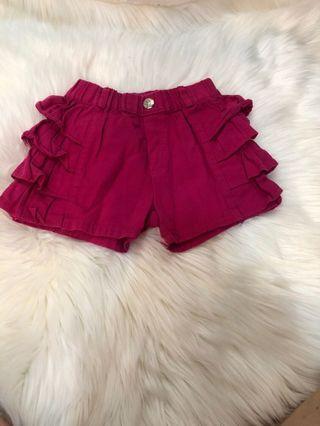 韓國 女童 桃紅 造型短褲 5號