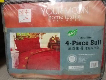 純棉紅床舖床冚枕袋