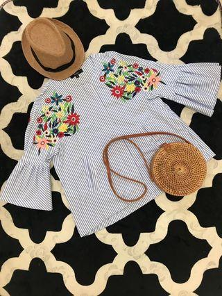 Blouse/ jacket with zip & embroidery flower