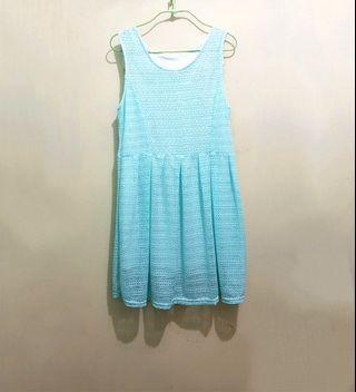 女裝 湖水藍 通花背心裙 連身裙