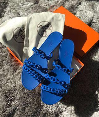 Hermes jelly sandals 36 blue